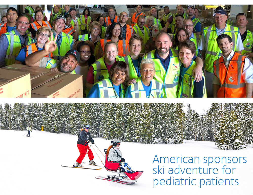 a group shot of american airlines employees stacked on top of an image of two skiers going down a slope