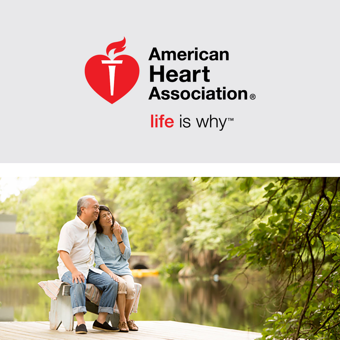 American Heart Association Logo and a couple outside