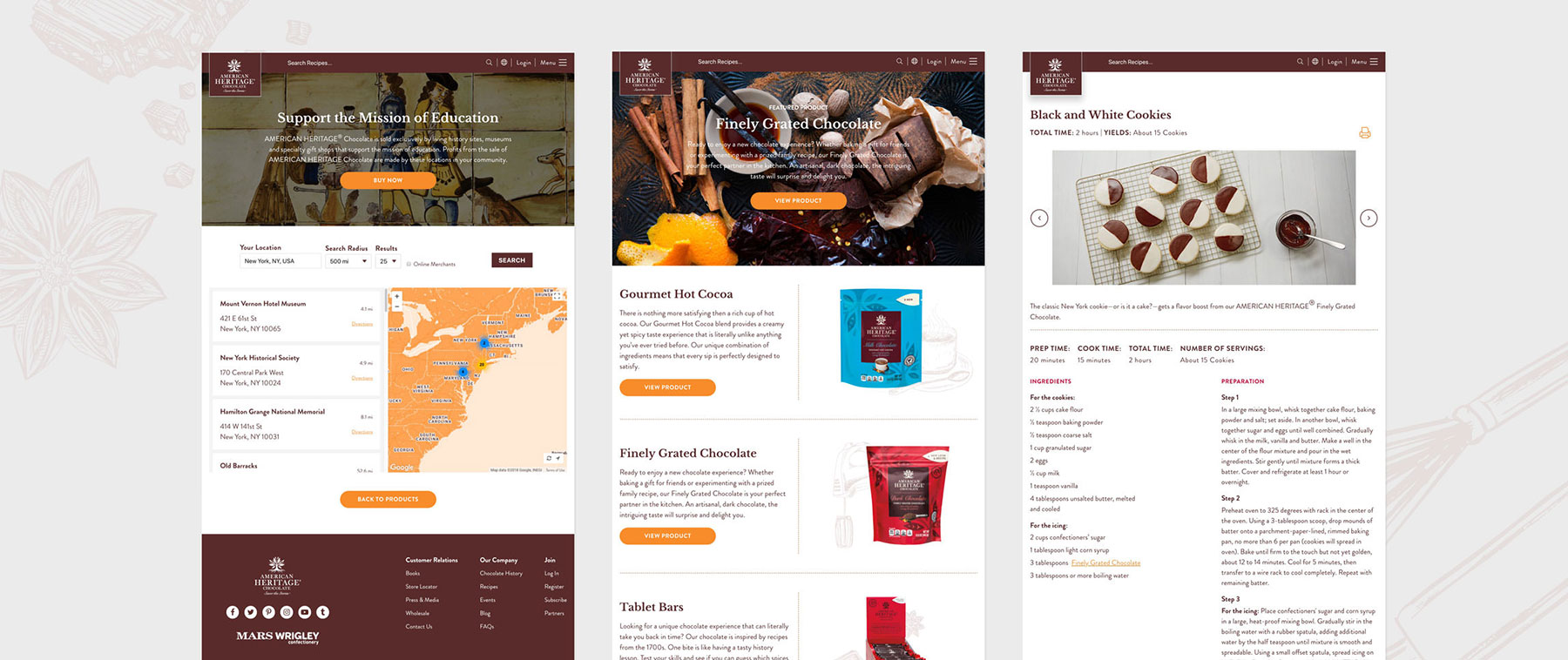 American Heritage Chocolate website design samples