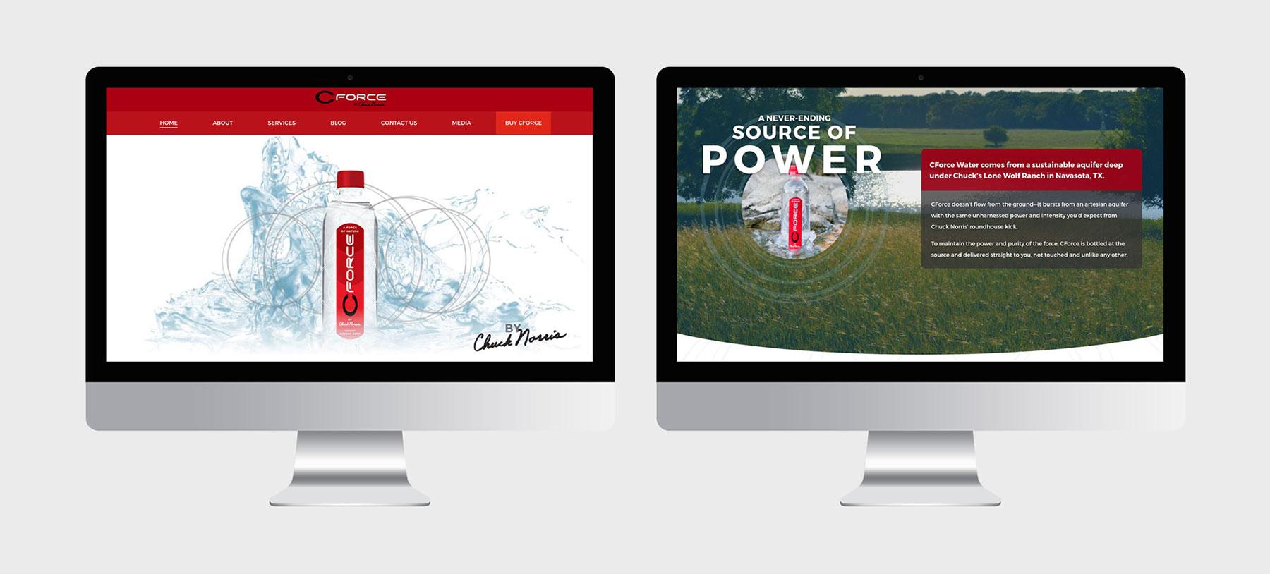 CForce iMac mockup showing new website design work
