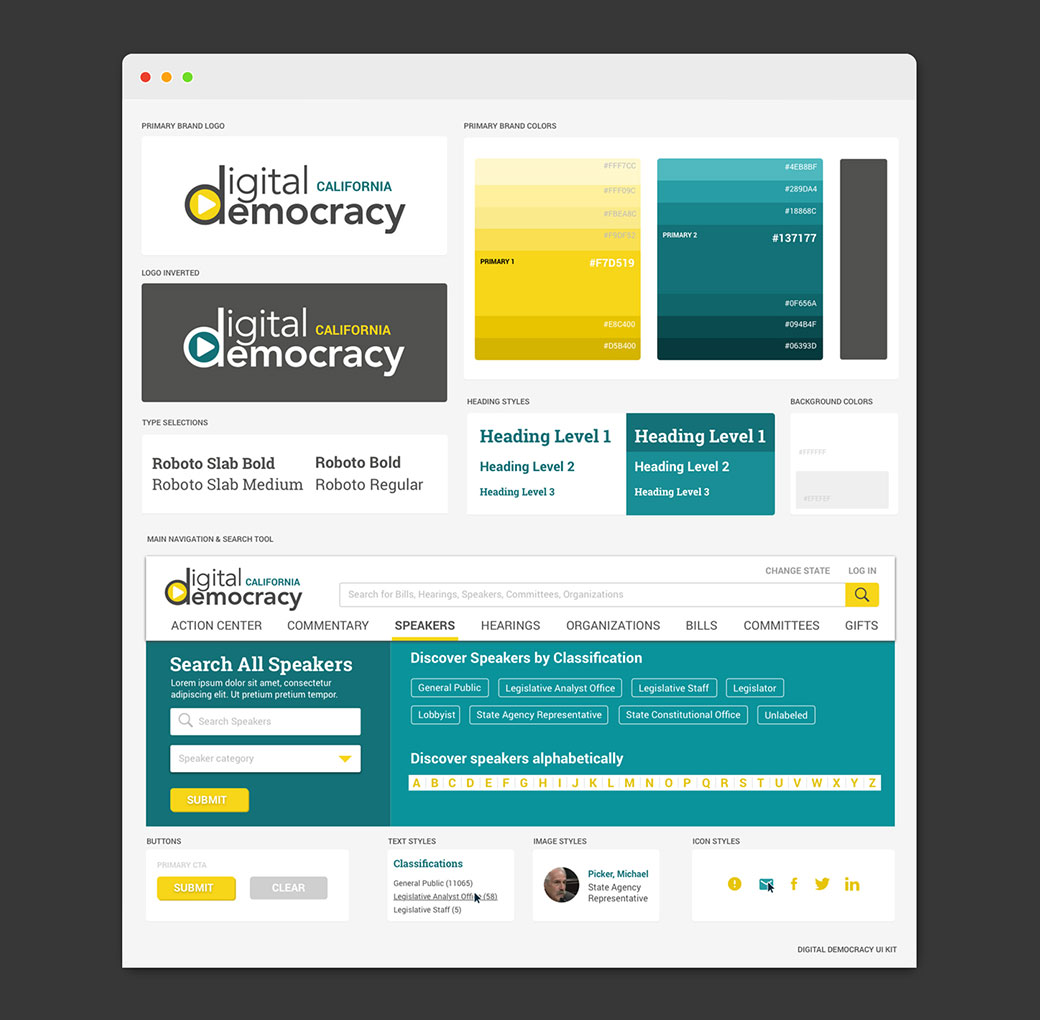 Digital Democracy brand style guide ui kit