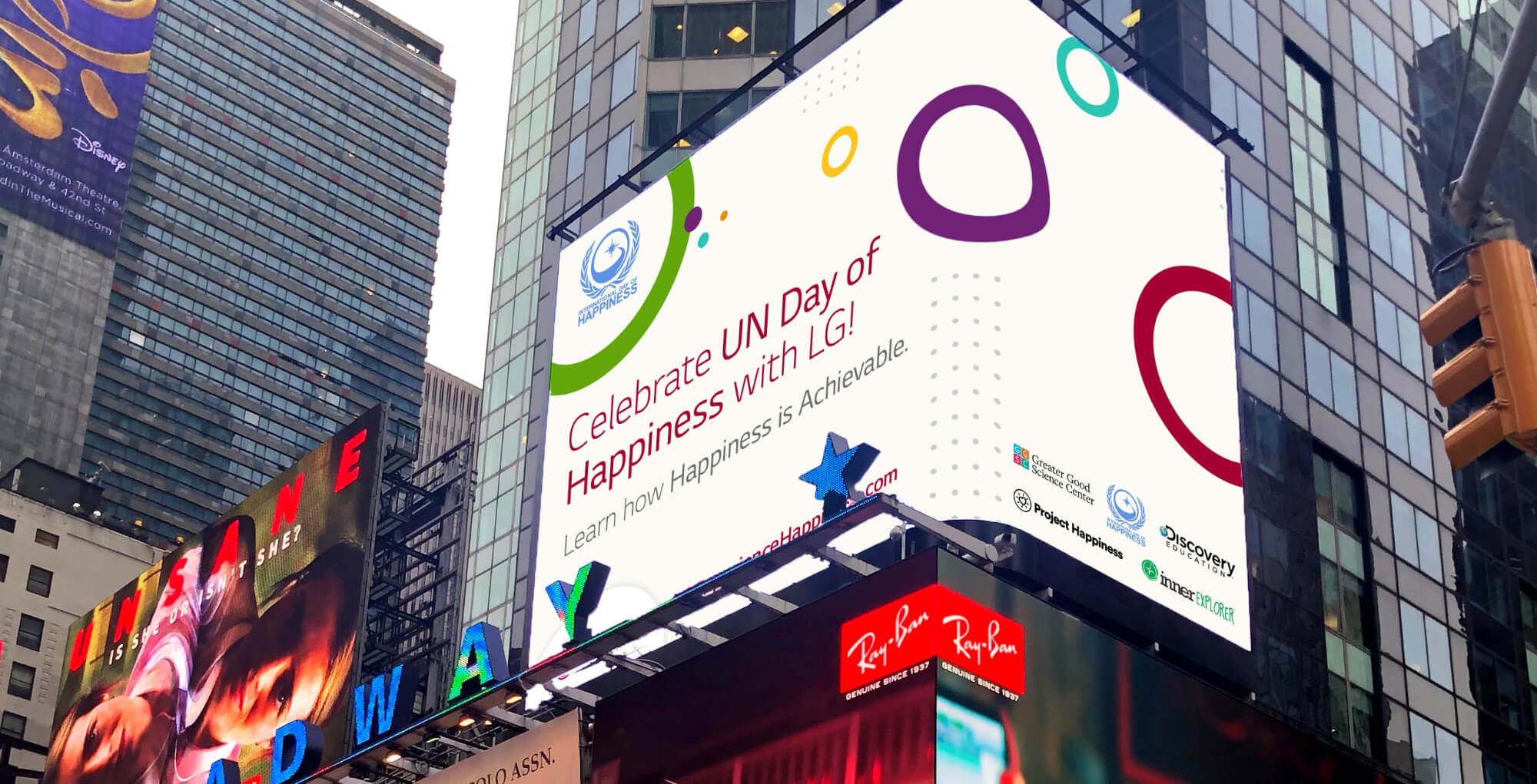 LG Experience Happiness NYC Times Square billboard creative