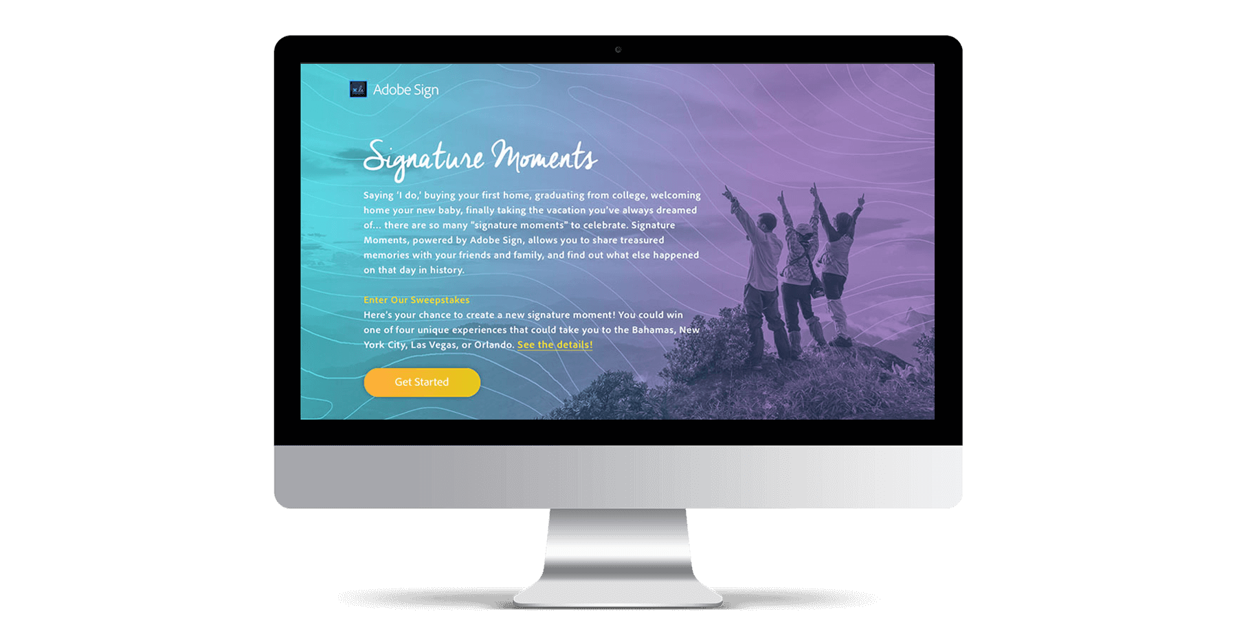 the adobe sign signature moments website displayed on an imac