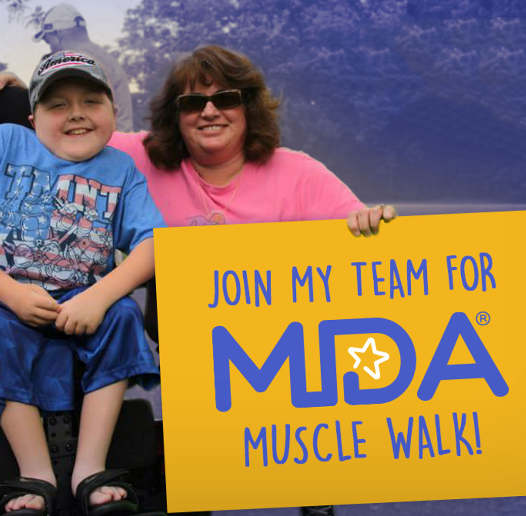 Muscle Walk image of a boy and mother