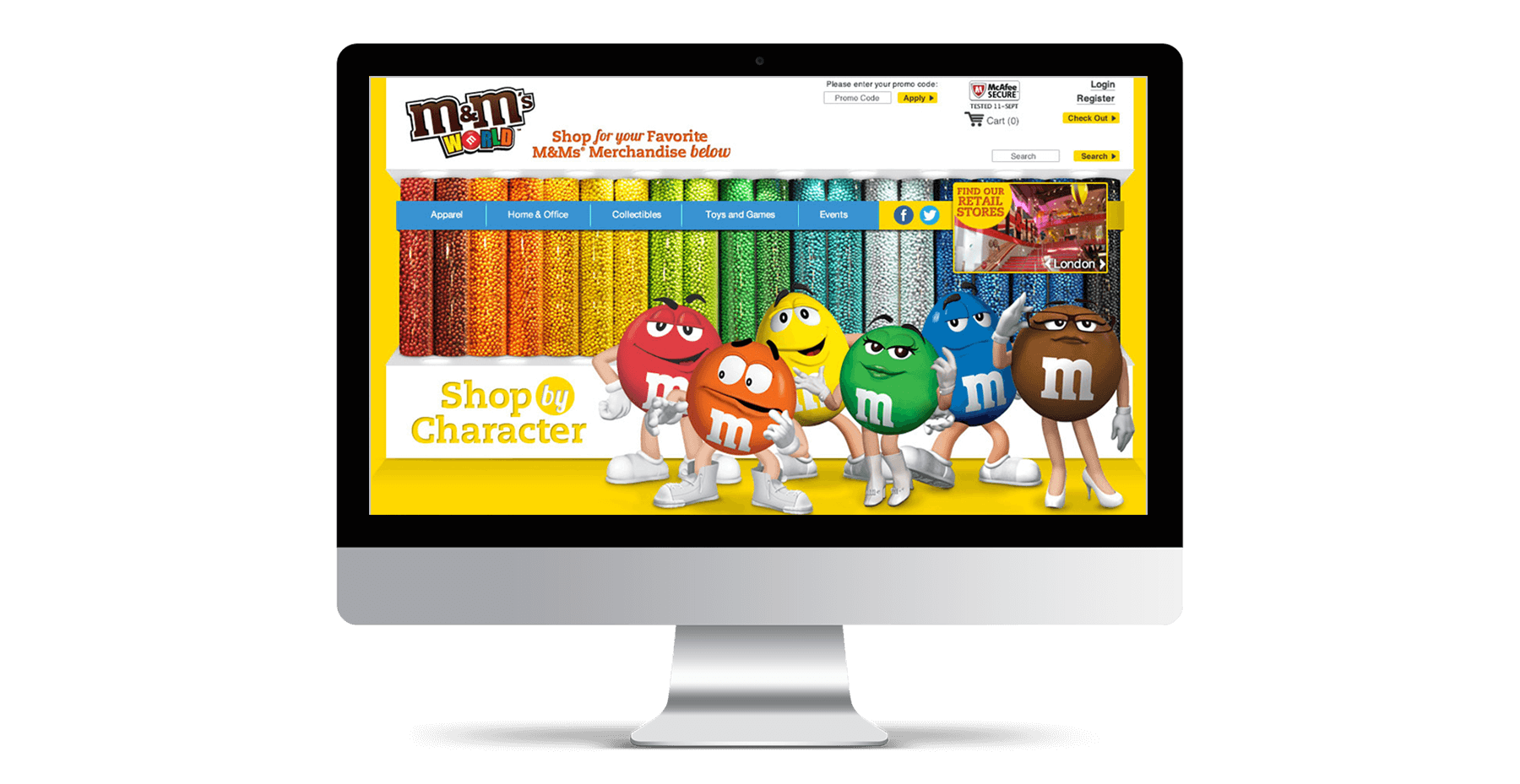 M&M's World iMac website mockup