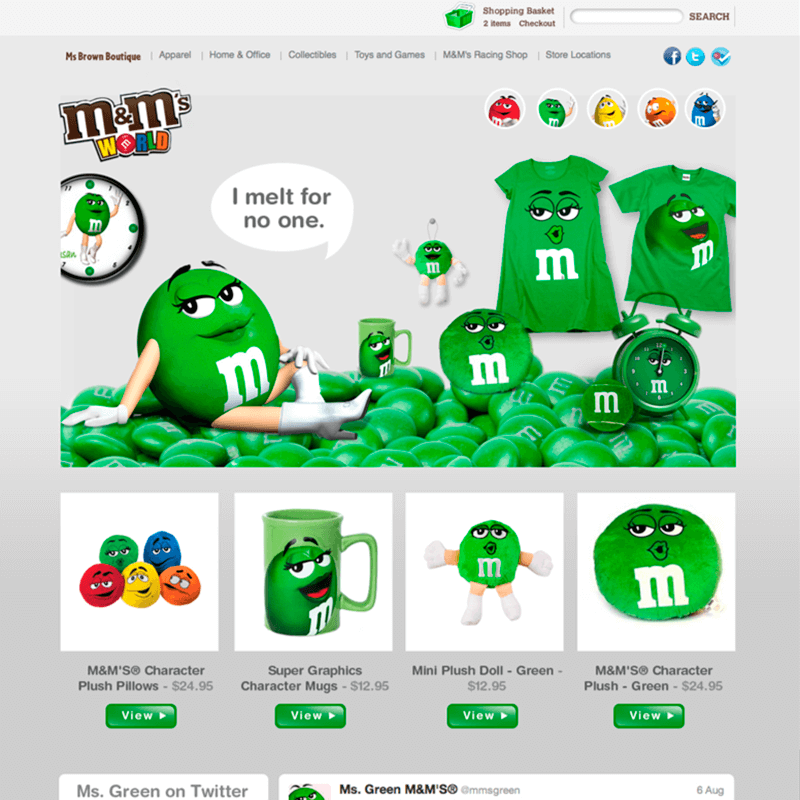 a mockup of M&M's World website