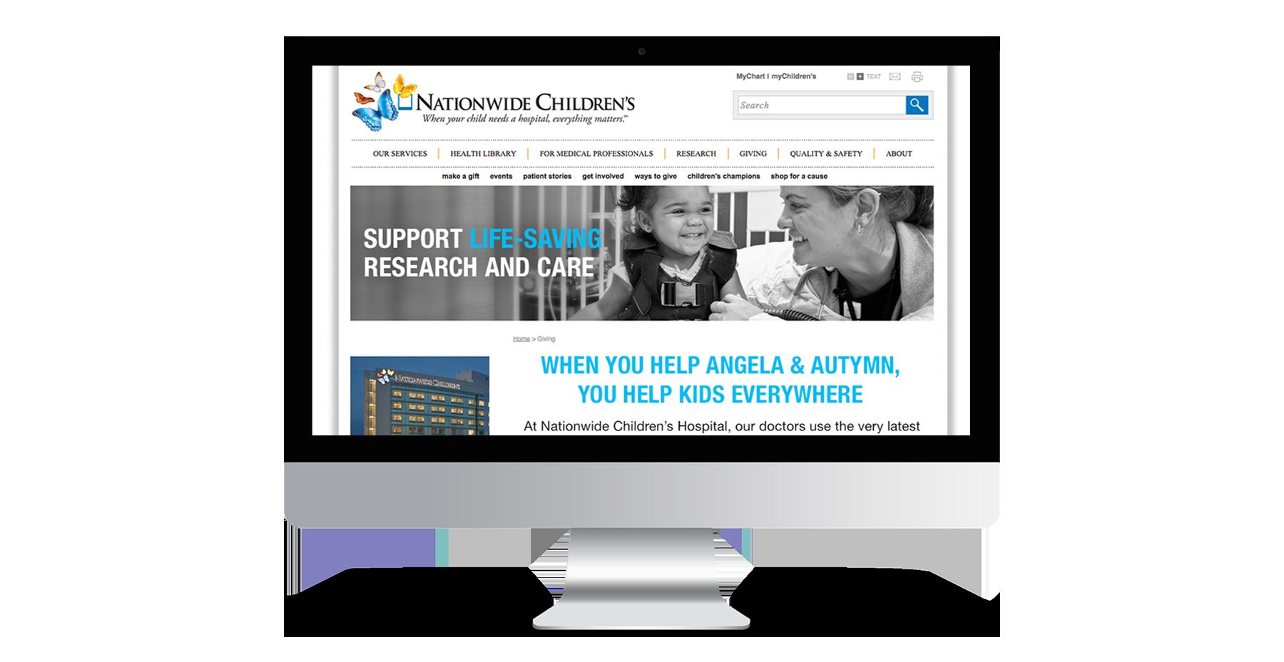 Nationwide Children's iMac mockup of website design