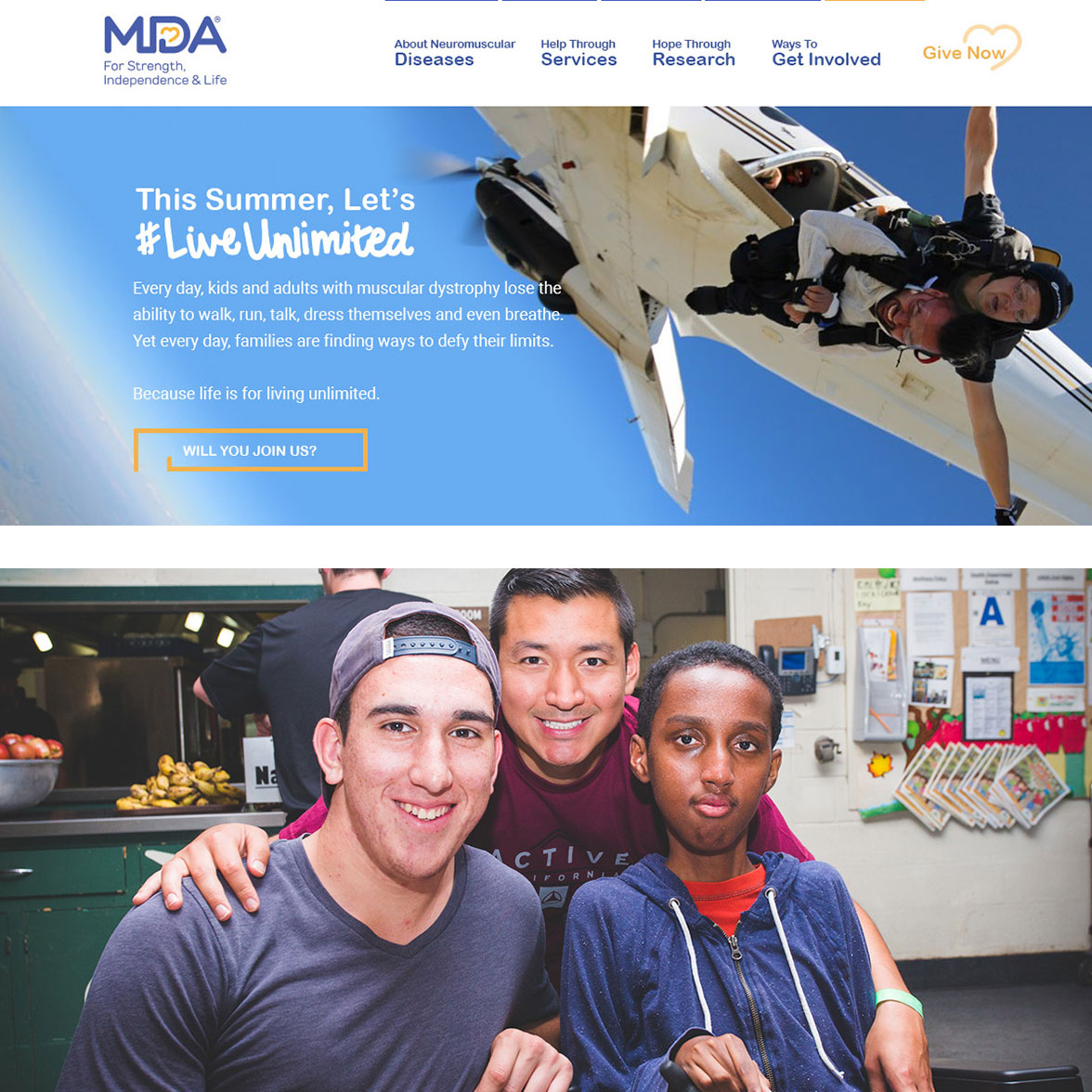 A screenshot of the MDA website and a group photo of three boys smiling
