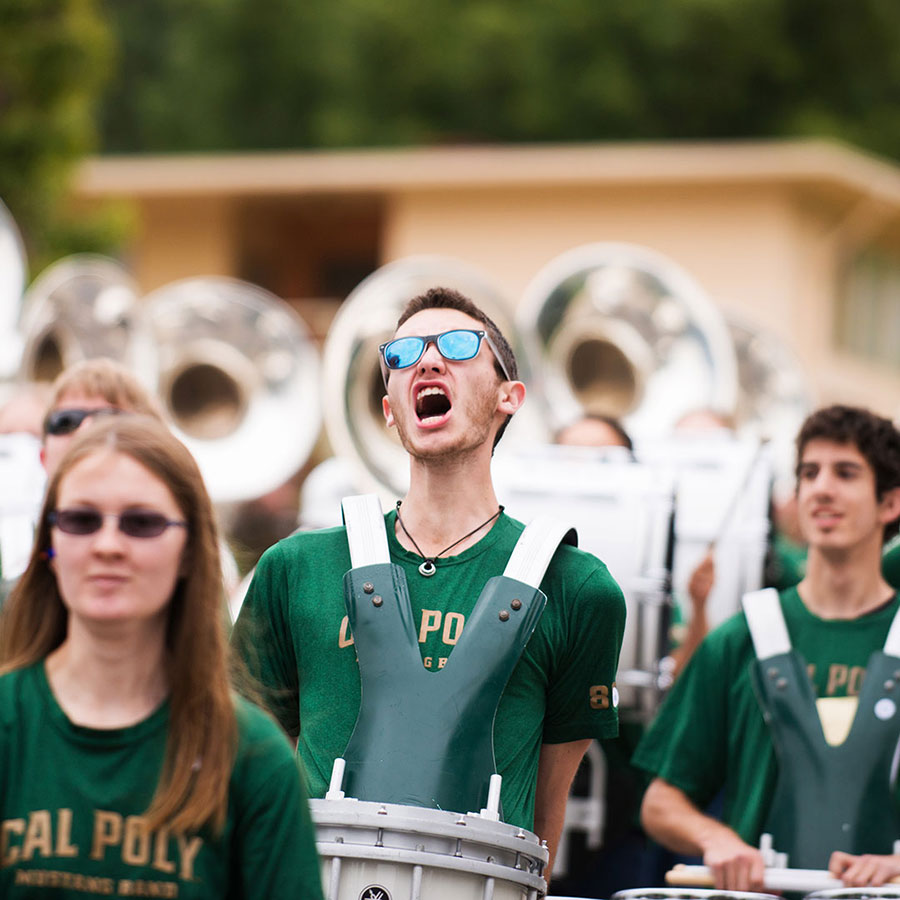 Cal Poly Band with drummer singing