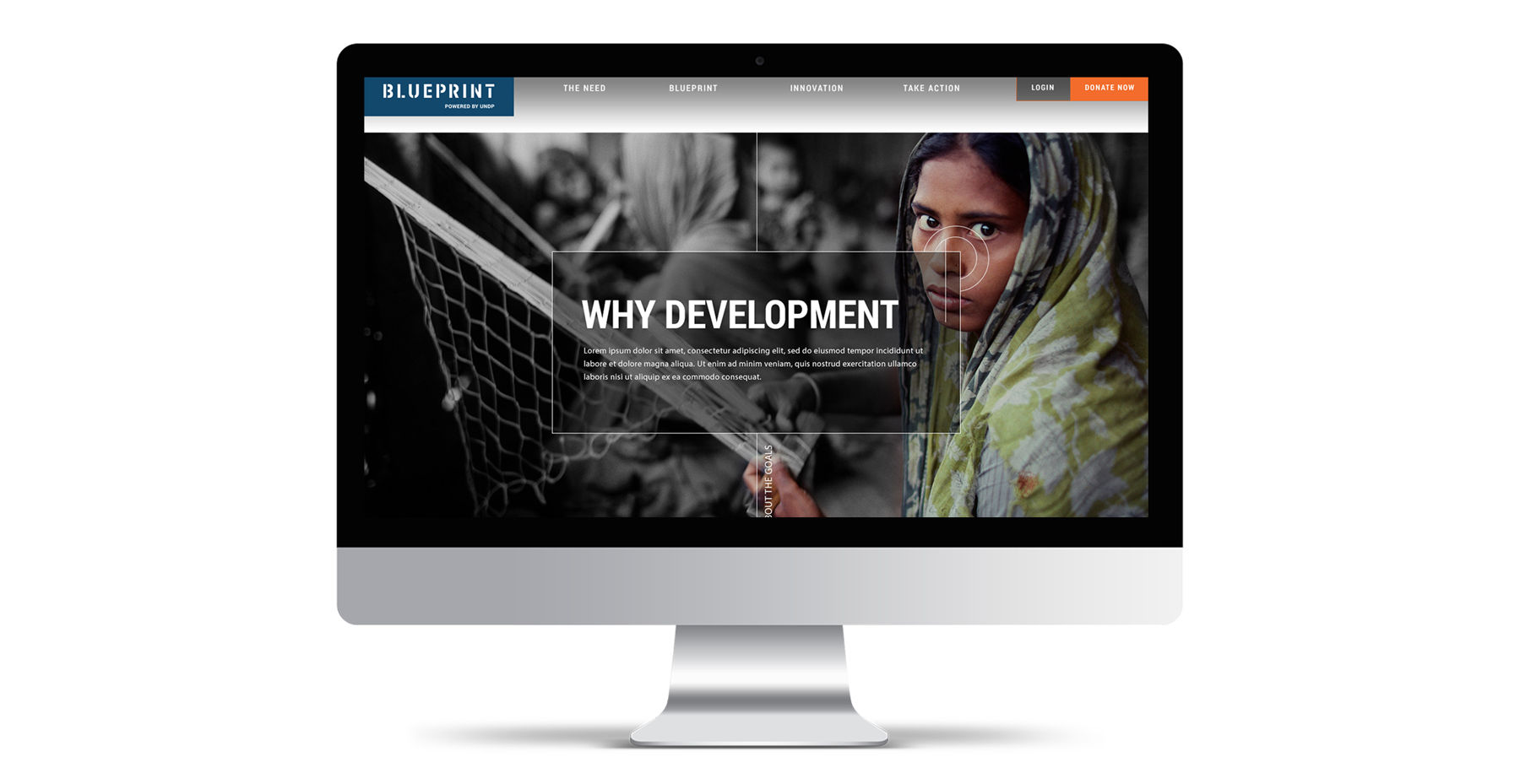 UNDP Blueprint iMac mockup of website design