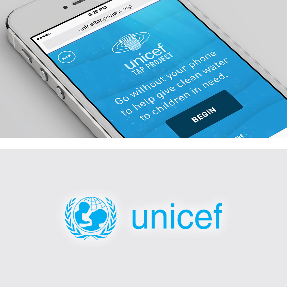 Unicef on mobile and the logo