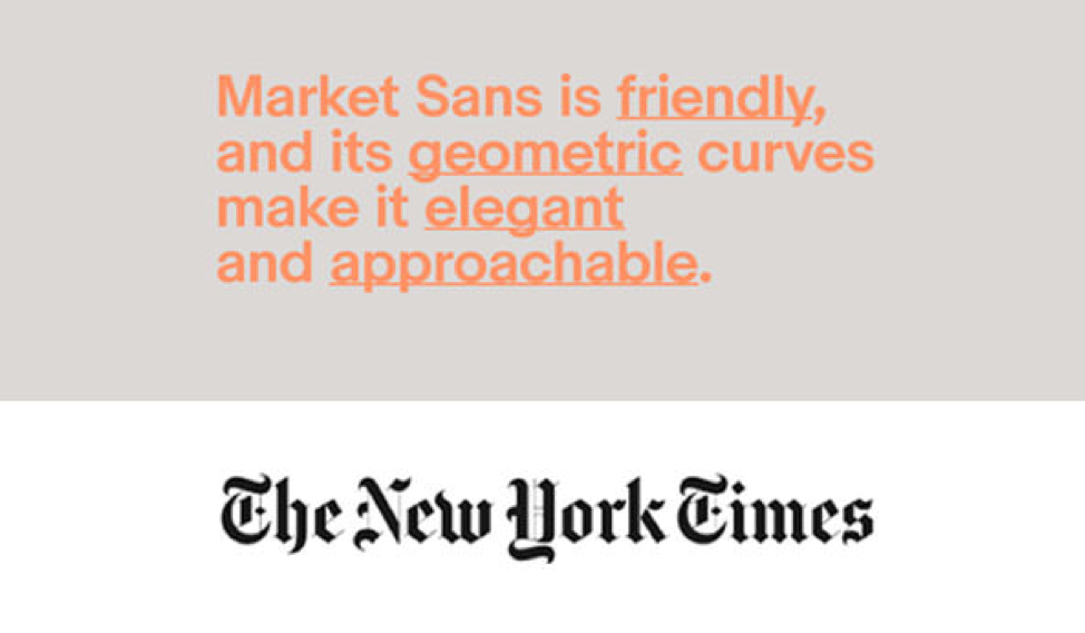 an infographic comparing market sans, a common sans serif typeface, and the iconic new york times workmark