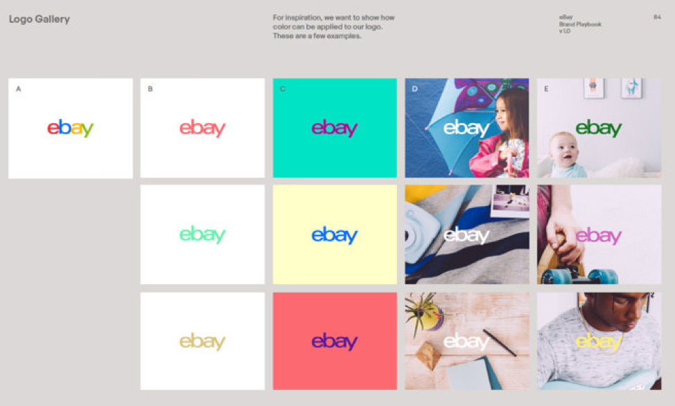 a screenshot of the brand book that shows the various ebay logo