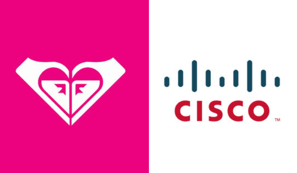 a comparison of the cisco logo and roxy