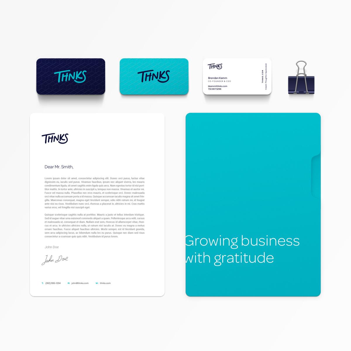 Thnks brand identity stationary system