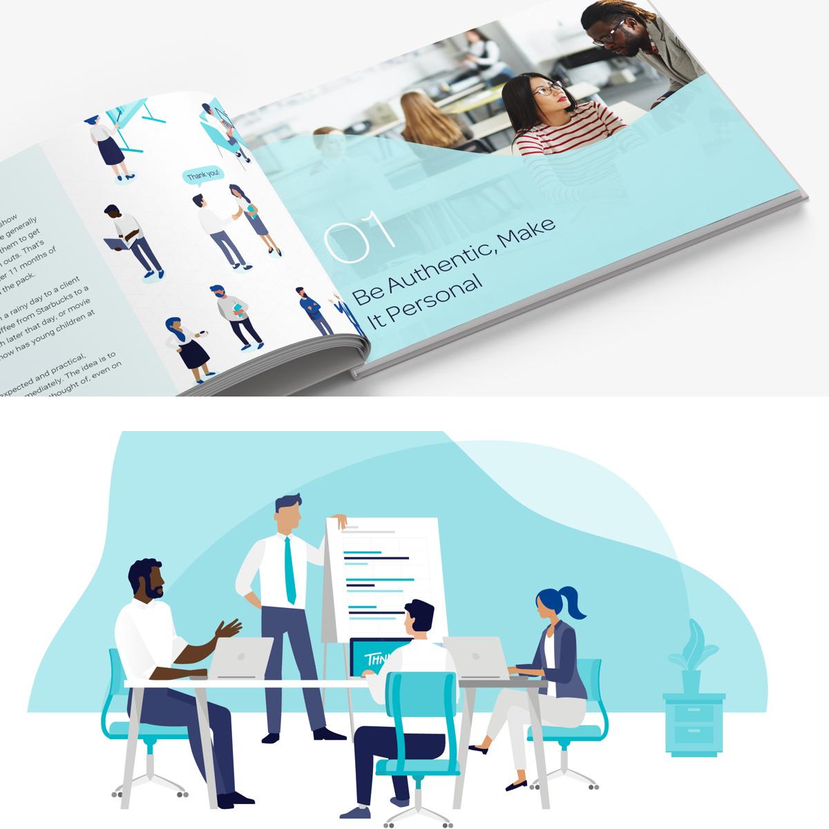 Thnks branded book design with flat illustration graphics