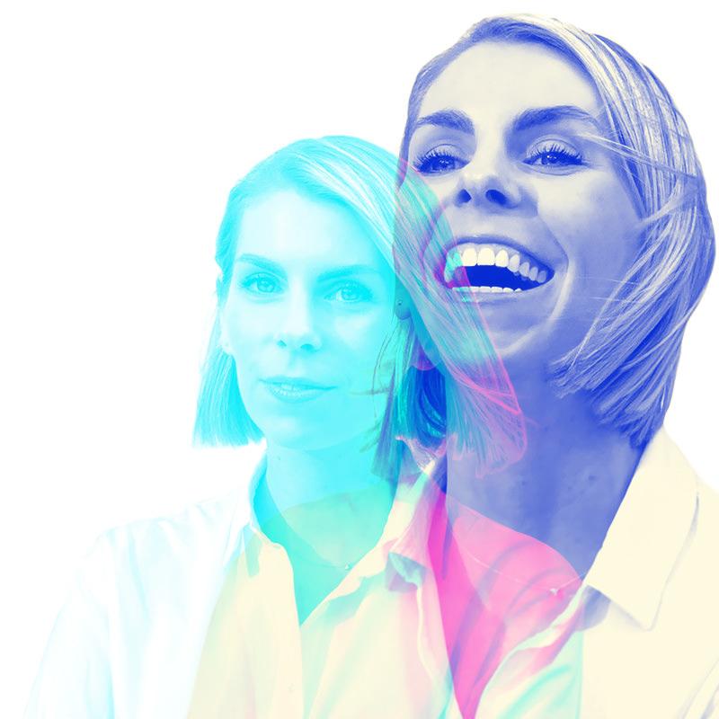 a double exposure portrait of sara