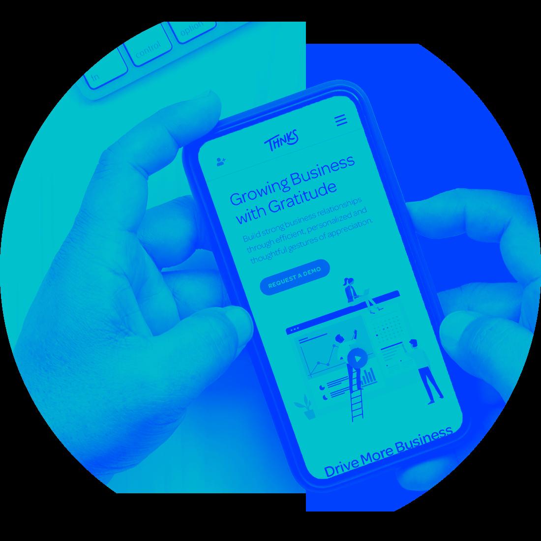 Thnks case study mobile website mockup