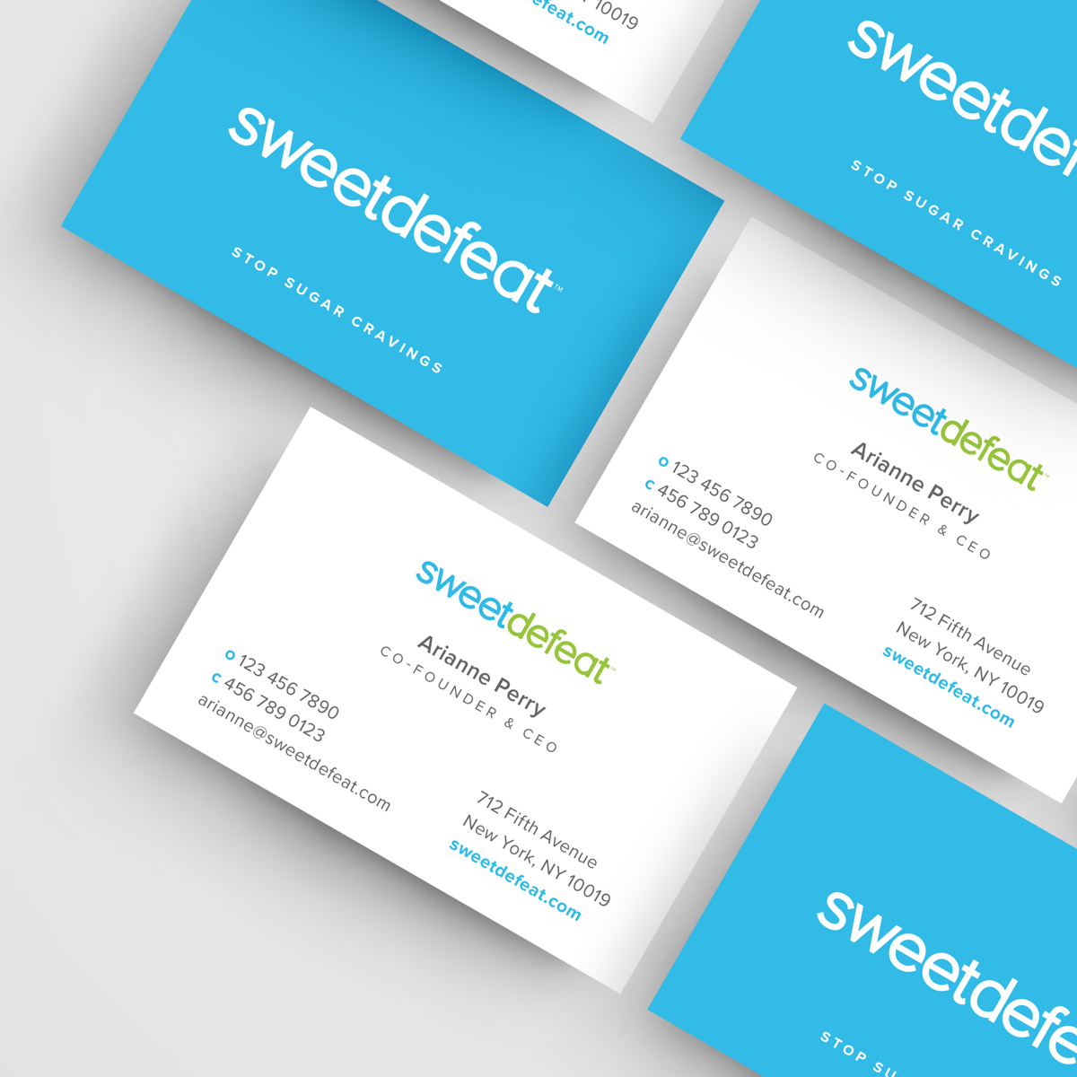 sweet defeat business card design