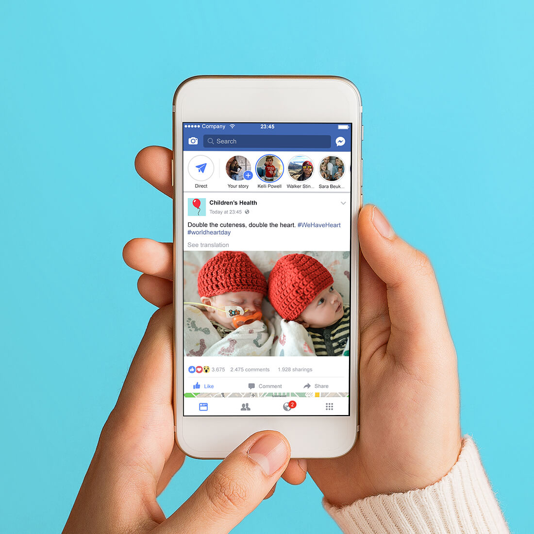 an iphone mock up of social posts designed for childrens health