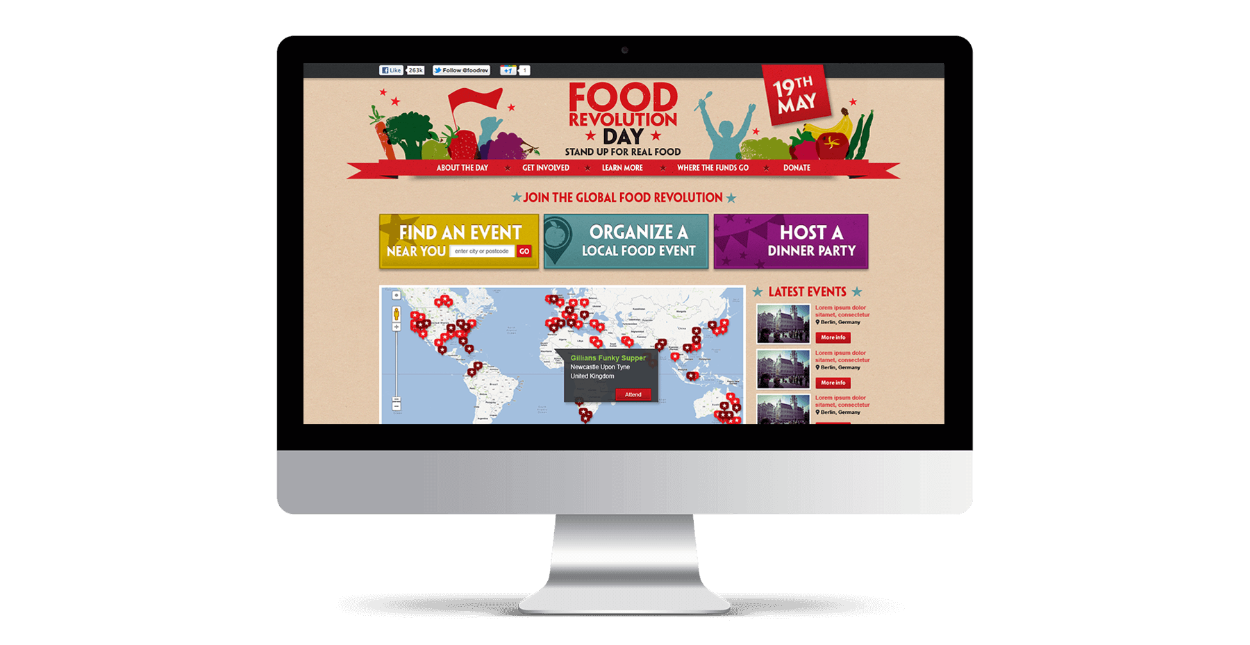 Food Revolution website Mockup