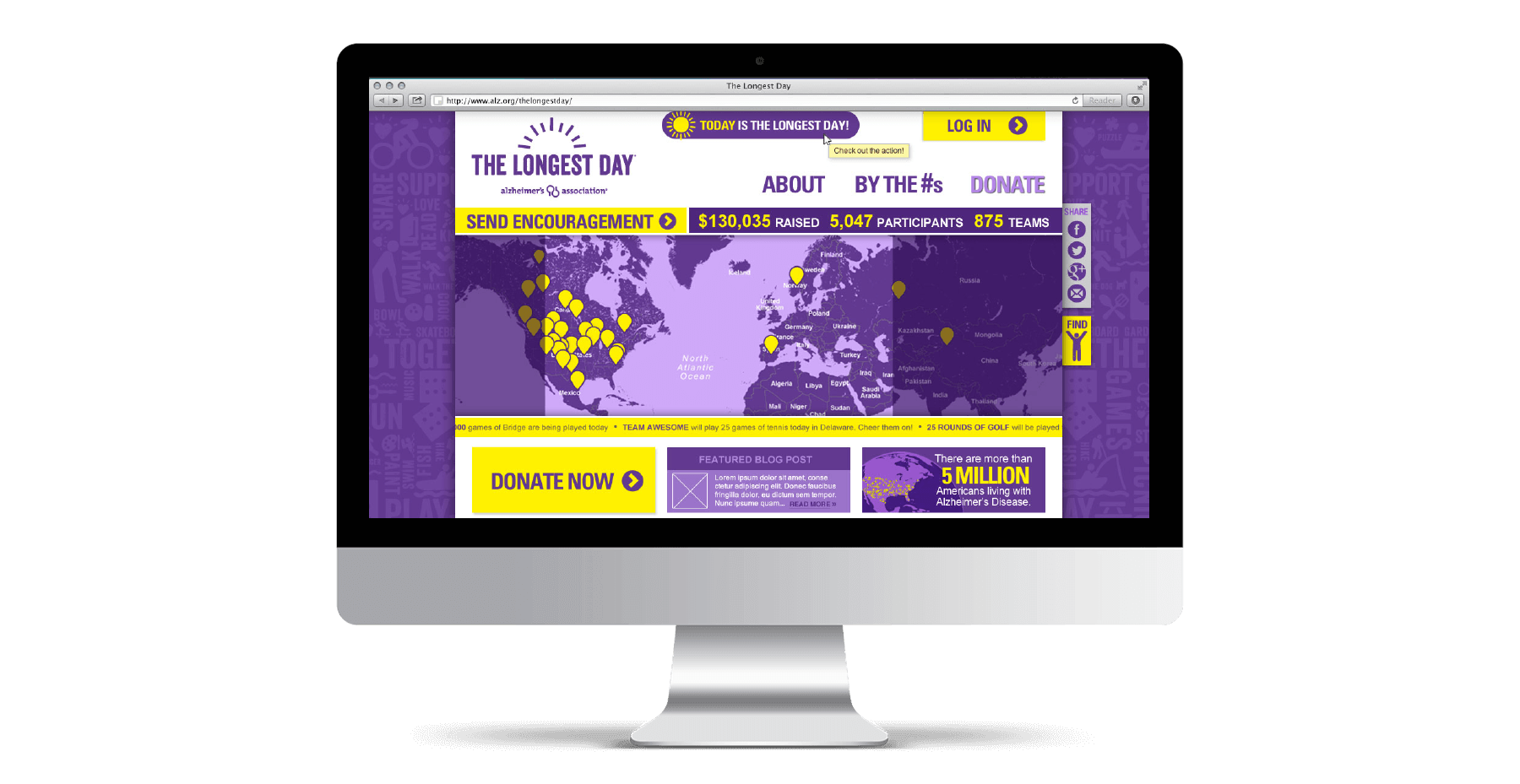 Website mockup for Alzheimer's Association