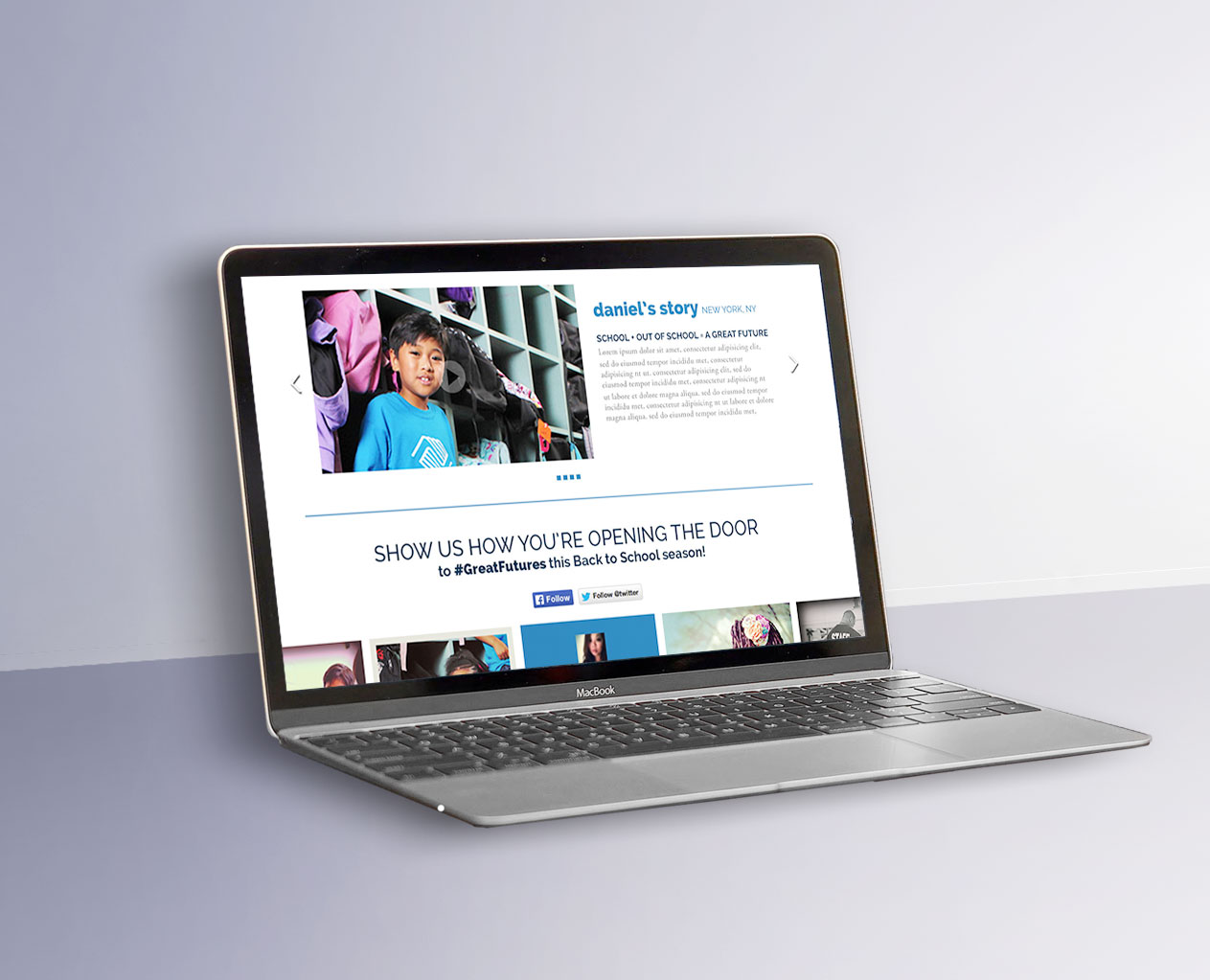 Mock up of the Boys and Girls club website