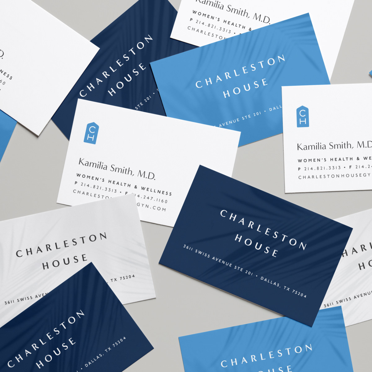top down view of Charleston House business cards designed by matchfire