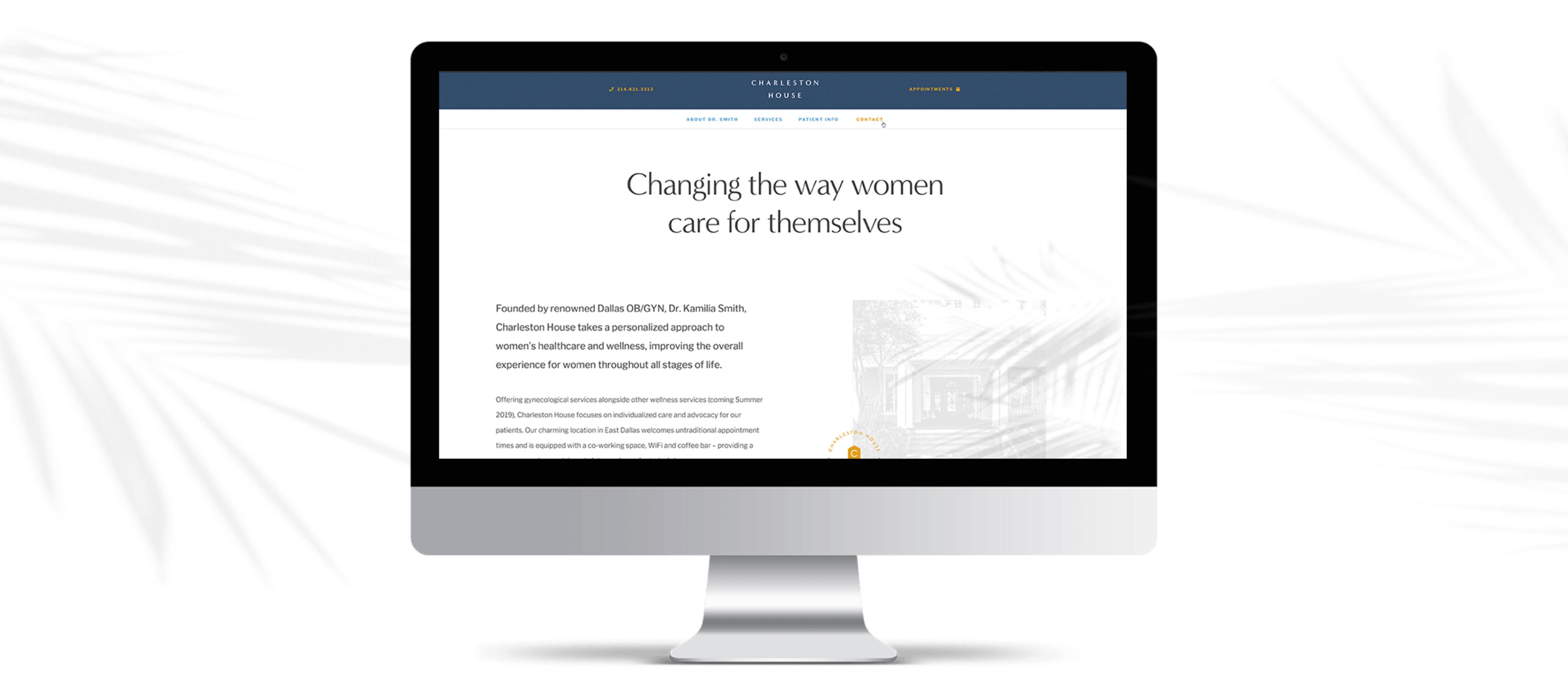 charleston house website mockup on a mac