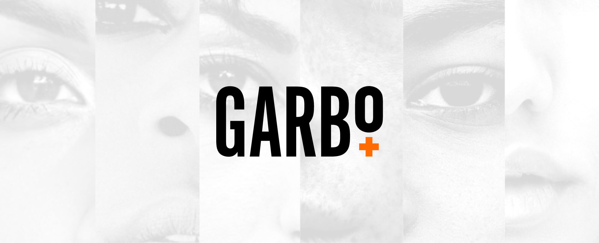 garbo logo over a grid of facial features