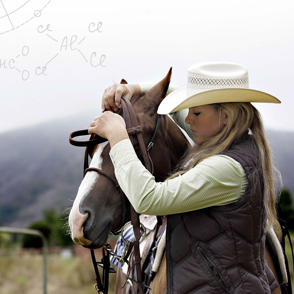 A woman in a cowboy hat harnessing a horse in a field