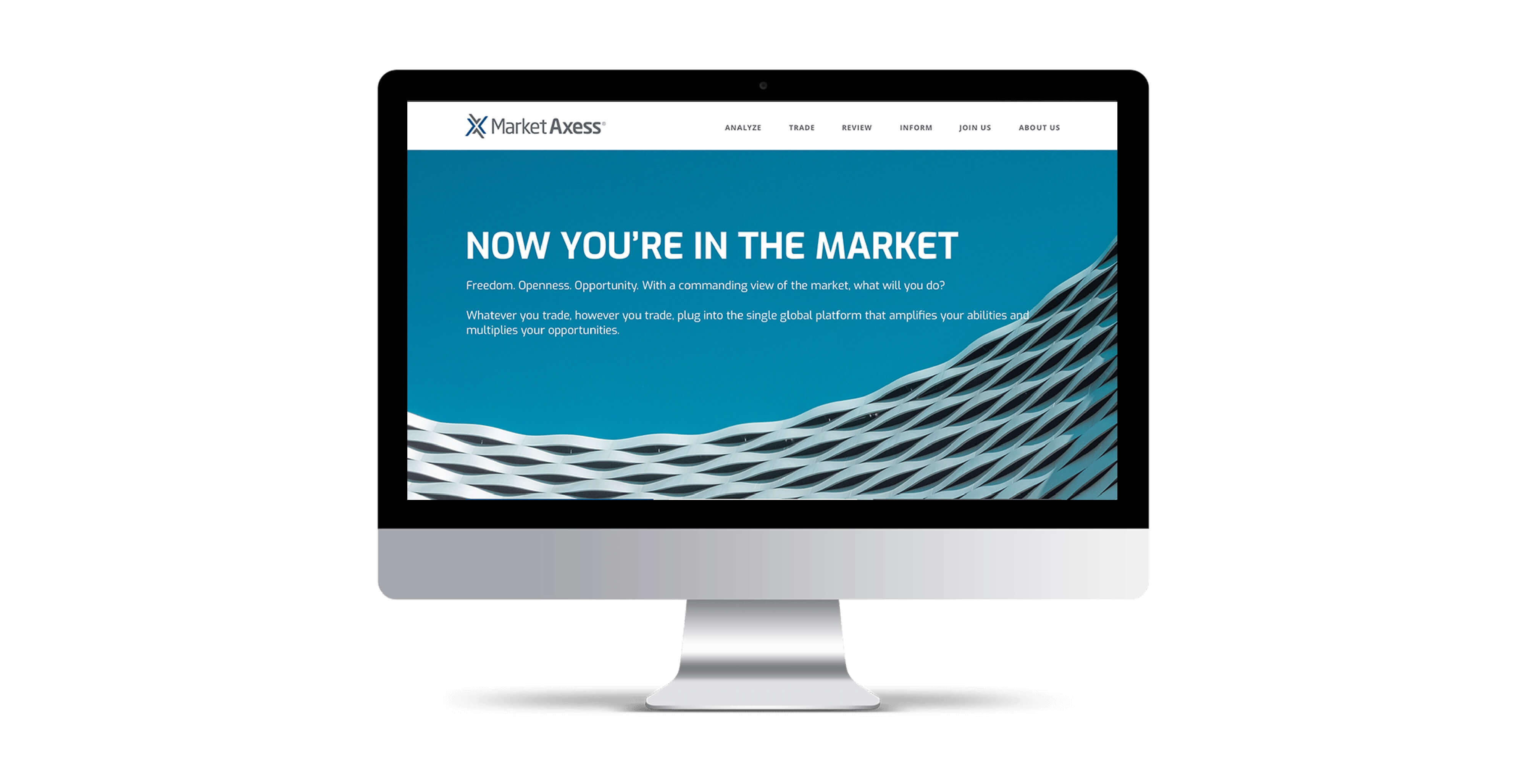 Website comp of MarketAxess on an iMac