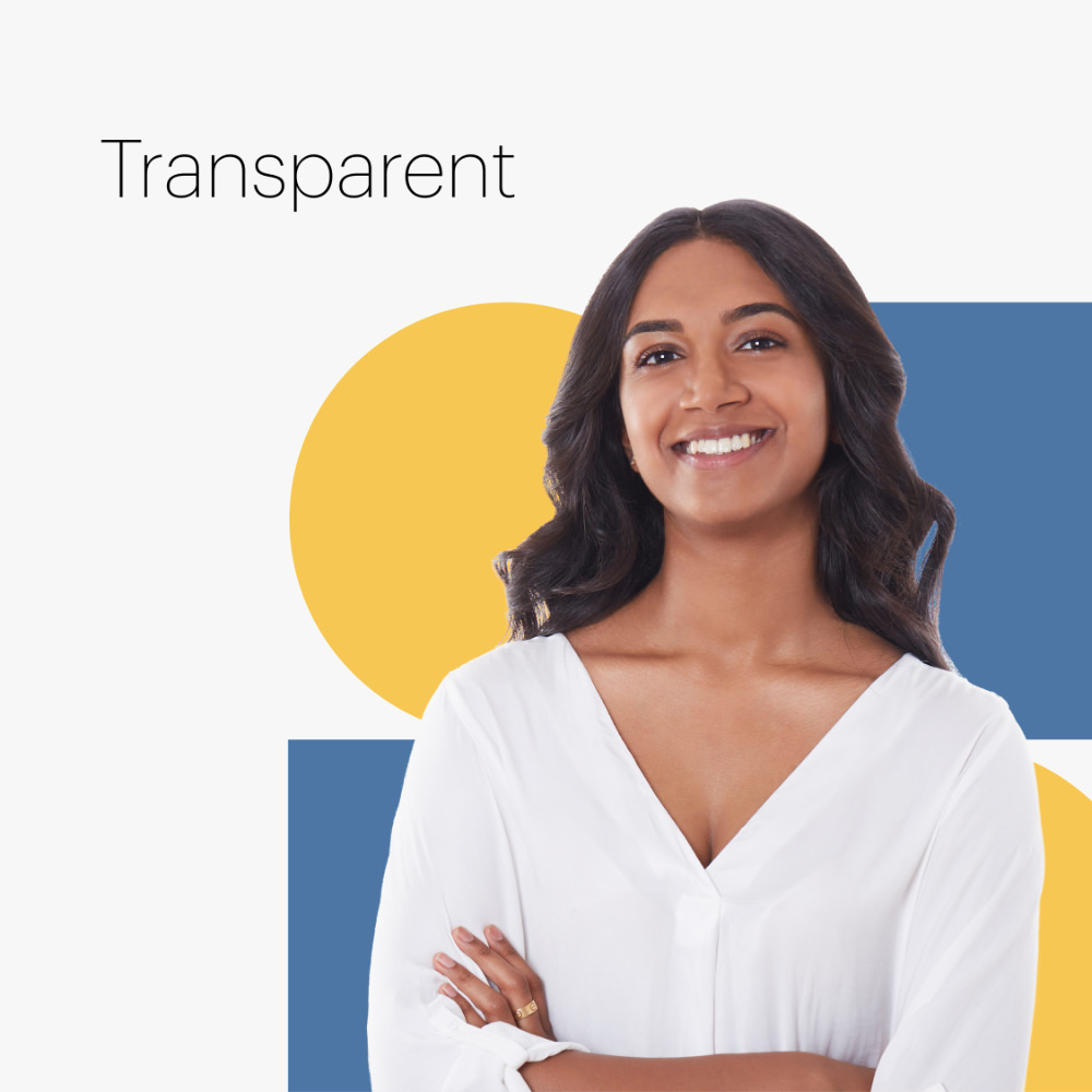 woman on multicolored shapes with the word transparent