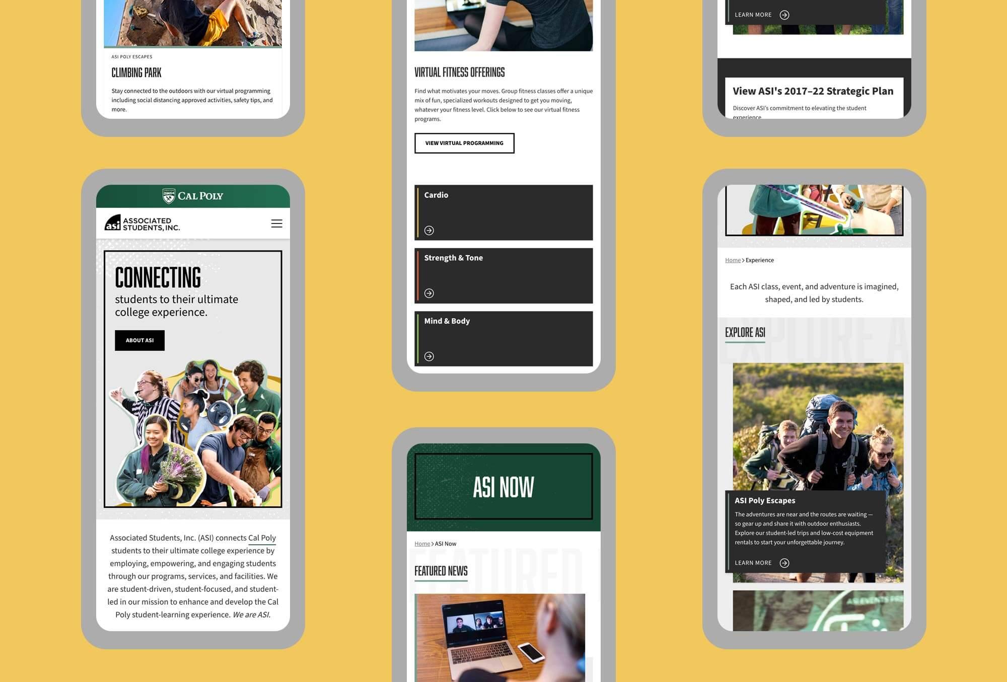 mosaic of ASI website mobile mockups