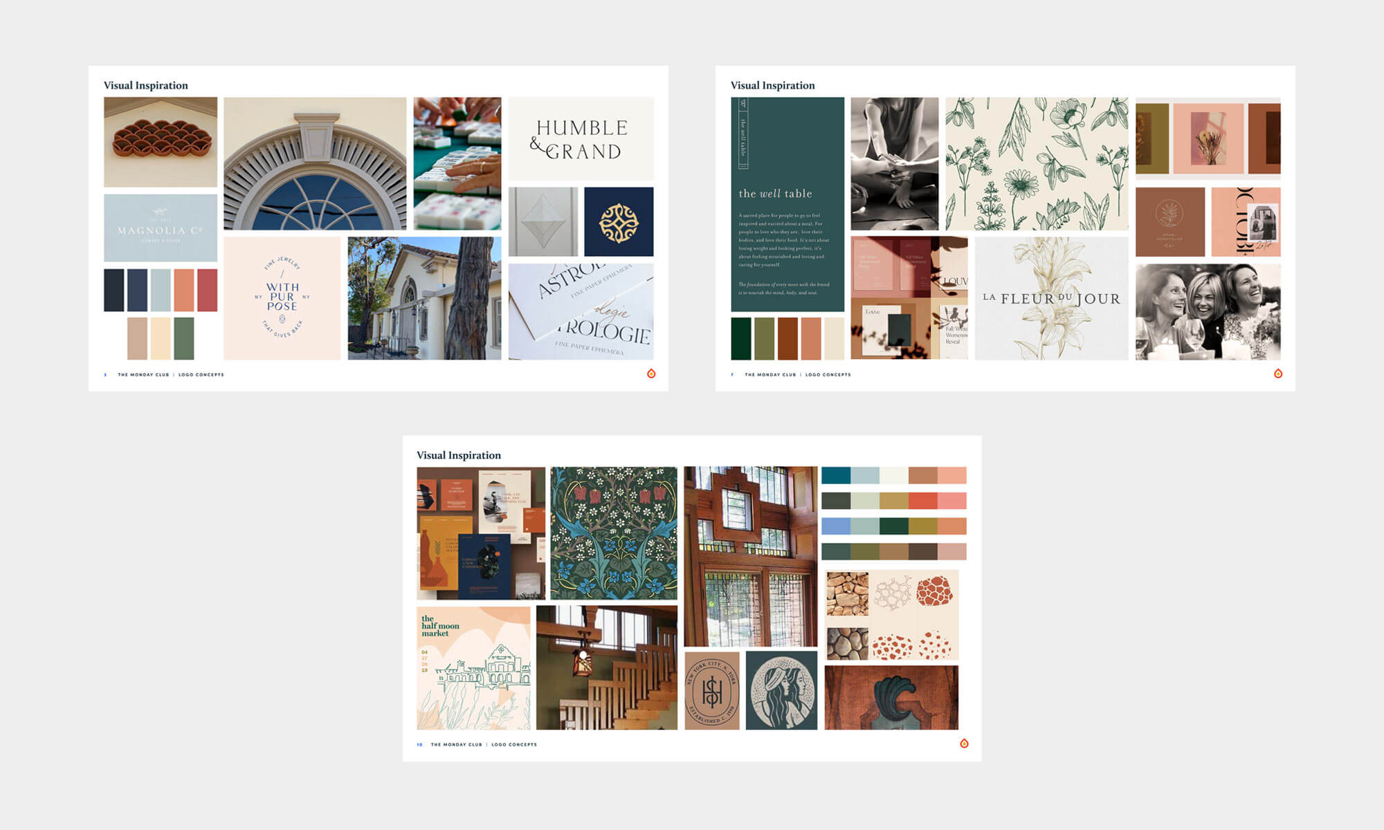mood boards for The Monday Club rebrand