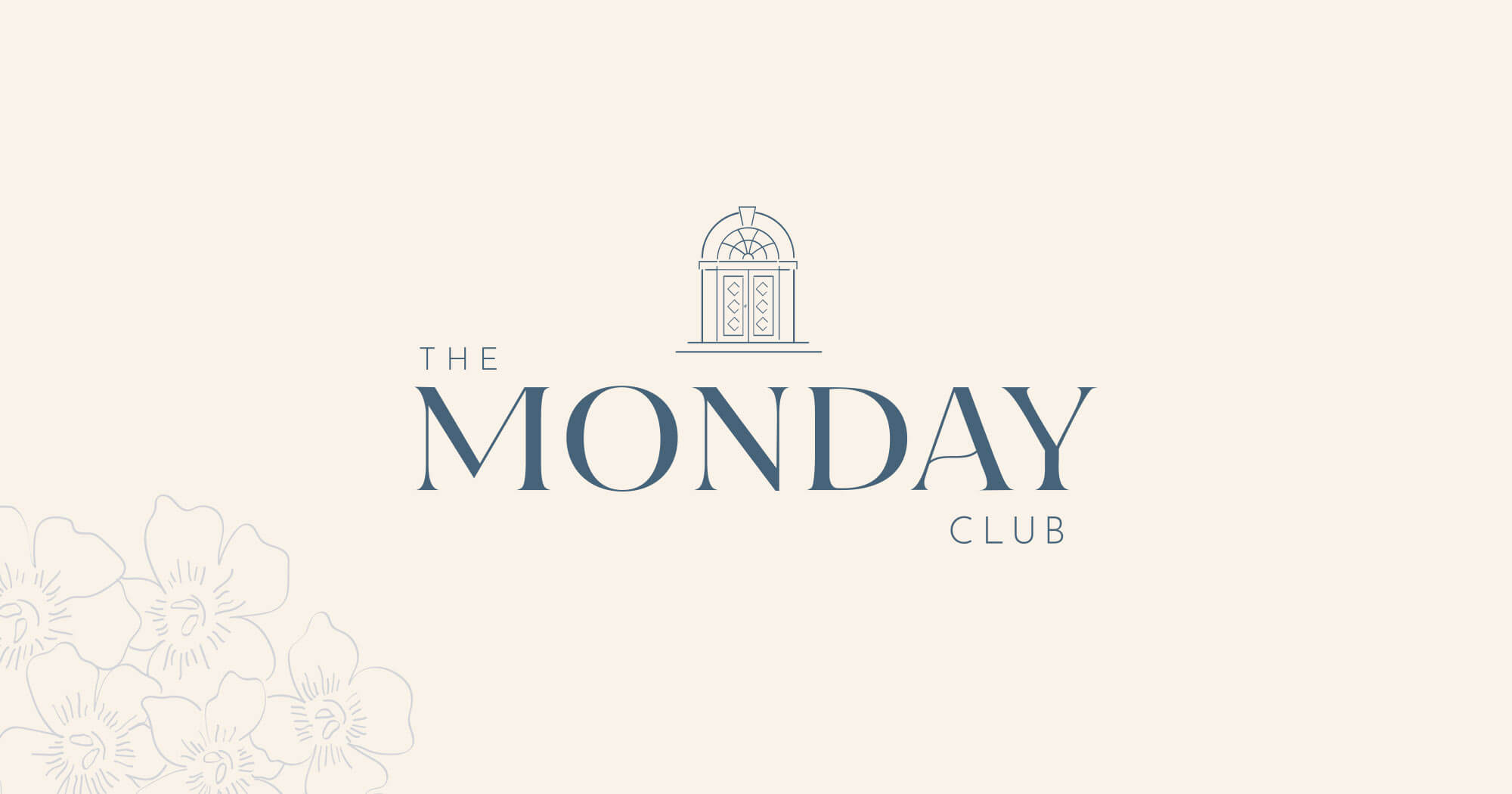 The Monday Club logo with floral pattern background