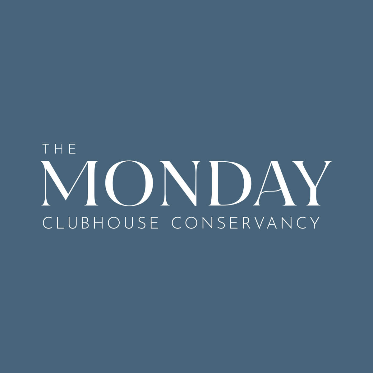 The Monday Clubhouse Conservancy logo on a blue background
